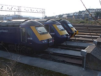 Laira Traction & Rolling Stock Maintenance Depot - Two FGW HSTs and one CrossCountry HST side by side at Laira depot