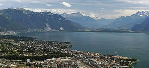 Vaud - Vevey, Lake Geneva and the Swiss Alps