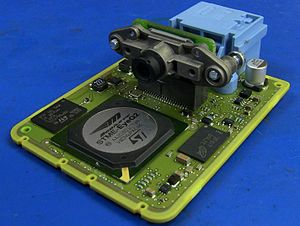 Lane departure warning system - The PCB and camera sensor from a Hyundai Lane Guidance camera module.