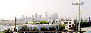 The Downtown Los Angeles skyline seen on an av...