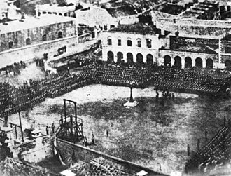 Grand Casemates Square - The last public military execution in Gibraltar held at Grand Casemates Square in 1864, with the garrison drawn up to witness the hanging.
