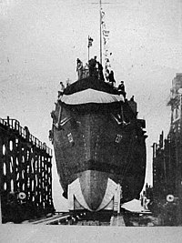 Launch of USS Ray K. Edwards (DE-237) at the Charleston Naval Shipyard on 19 February 1944