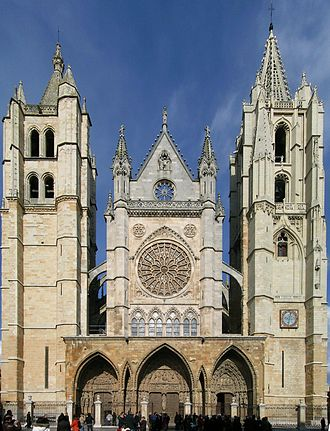 León, Spain - León Cathedral, main facade
