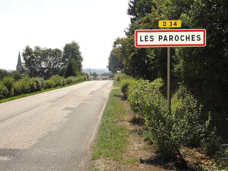 Les Paroches (Meuse) city limit sign