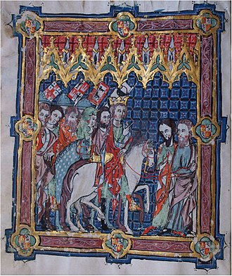 Alfonso XI of Castile - Alfonso XI and his nobles, in the 14th century Book of the Coronation of the Kings of Castile