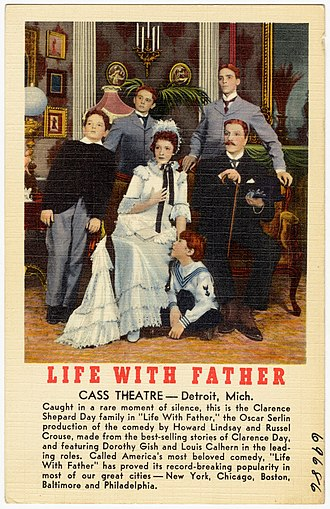Life With Father - Postcard showing cast featuring Dorothy Gish