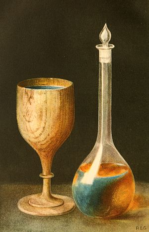 Fluorescence - Lignum nephriticum cup made from the wood of the narra tree (Pterocarpus indicus), and a flask containing its fluorescent solution