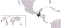A map showing the location of Guatemala
