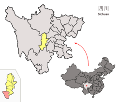 Location of Shimian County (red) within Ya'an City (yellow) and Sichuan