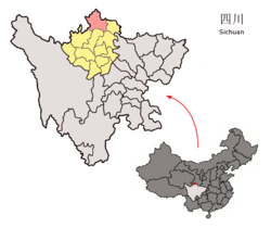 Zoigê County (pink) in Ngawa Prefecture (yellow) and Sichuan