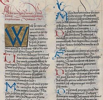 Lombardic capitals - Lombardic capitals in a manuscript (the Ambraser Heldenbuch, fol. 75v, c.1516)