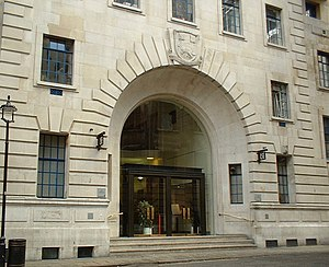 History of the London School of Economics - The LSE's arms appear above the main entrance to the Old Building, which opened in 1922.