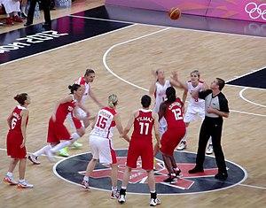 Turkey women's national basketball team - Turkey (red kit) vs. Czech Republic at the 2012 Summer Olympics.