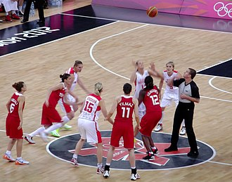 Turkey women's national basketball team - Turkey (red kit) vs. Czech Republic at the 2012 Summer Olympics.