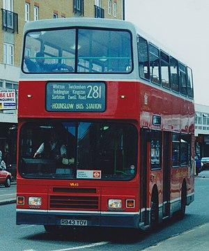 London United Busways - Alexander RH bodied Volvo Olympian on route 281 in Hounslow in original London United livery in September 1998