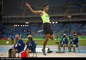 Long jumper Mohammad Arzandeh at the 2016 Olympics 07.jpg