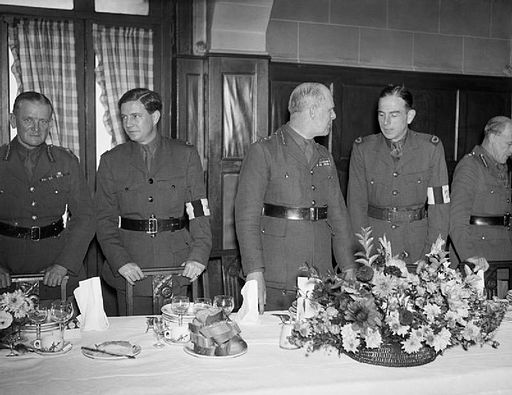 Lord Gort (centre) at a lunch with senior officers and war correspondents at the Hotel Moderne in Arras, France, 15 October 1939. O454