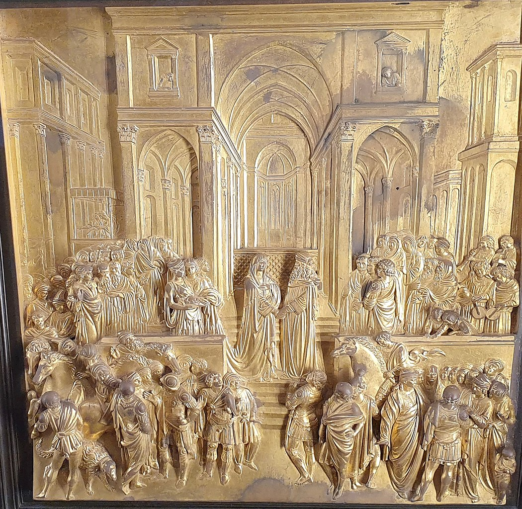 Lorenzo Ghiberti, Wedding of King Solomon and the Queen of Sheba, eastern doors or Gates of Paradise, Baptistery of Saint John, 1425, Florence, Italy.