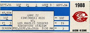1988 Cincinnati Reds season - A ticket from Browning's perfect game.
