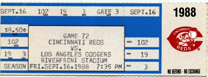 Los Angeles Dodgers at Cincinnati Reds 1988-09-16 (ticket)