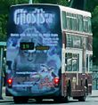 Lothian Buses bus 847 Leyland Olympian Alexander RH J847 TSC old Madder and White livery Edinburgh Dungeon rear advert.jpg