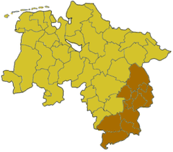 Map of Lower Saxony highlighting the former Regierungsbezirk of Brunswick