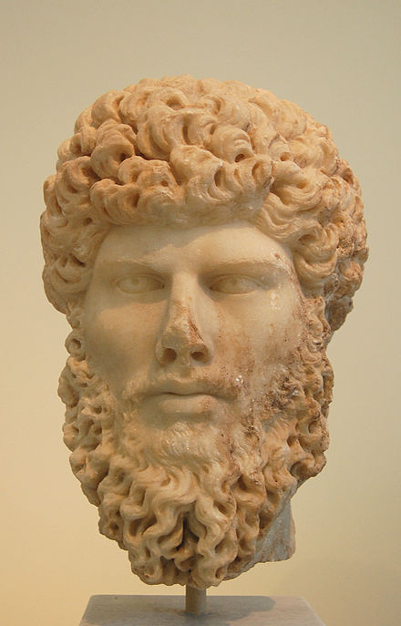 Portrait head of Lucius Verus, found in Athens (National Archaeological Museum of Athens). He used to sprinkle gold-dust on his blond hair to make it brighter. Lucius Verus.jpg