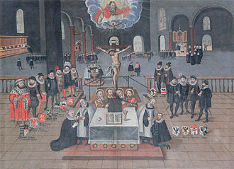 Lutheran art - The Lutheran Mass depicted in the Nikolaikirche in Berlin, Martin Schulz, 1615.