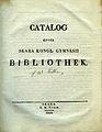 Luth, Catalog öfver Skara kongl gymnasii bibliothek (1830) title page.jpg
