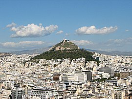 Lycabettus seen from the Acropolis, 2016.jpg