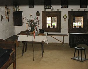 Zuberec - Interior of one of the houses in the Zuberec open-air museum