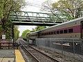 MBTA train under Boden Lane bridge, May 2017.JPG