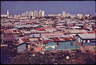San Juan, Puerto Rico - Shanty town along the Martín Peña Canal, 1973