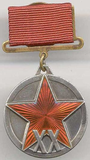"Jubilee Medal ""XX Years of the Workers' and Peasants' Red Army"" - Original variant 1938 to 1943 of the Jubilee Medal ""XX Years of the Workers' and Peasants' Red Army"""