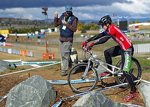 Mountain bike trials competitor