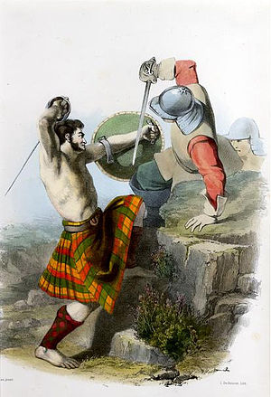 Clan MacMillan - A romantic depiction of a clansman of Clan MacMillan illustrated by R. R. McIan, from James Logan's The Clans of the Scottish Highlands, 1845.