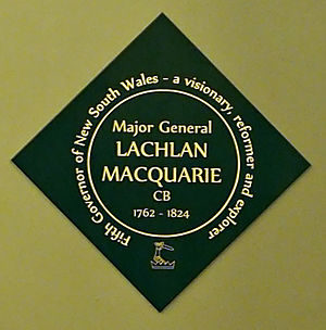 Lachlan Macquarie - Memorial plaque to Governor Macquarie in St James' Church, Sydney