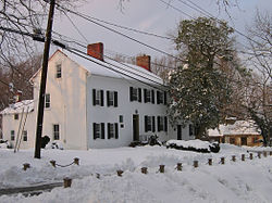 The Madison House in February 2006. It was built around 1800 and originally owned by Caleb Bentley. The house provided refuge for President James Madison, on August 26, 1814, after the British burned Washington, D.C. during the War of 1812.