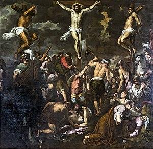 Palma il Giovane - Image: Madonna dell'Orto (Venice) Chapel Morosini Crucifixion by Palma il Giovane
