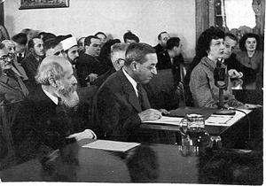 Judah Leon Magnes - Martin Buber (left) and Judah Leon Magnes testifying before the Anglo-American Committee of Inquiry in Jerusalem (1946)