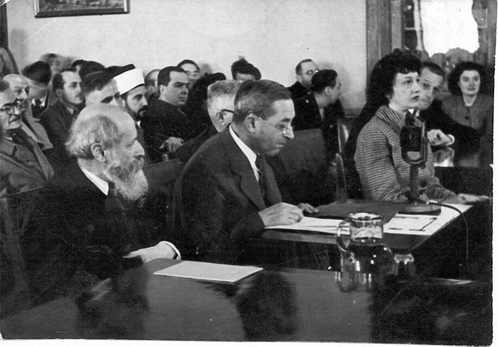 Magnes and Buber testifying before the Anglo-American Committee of Inquiry