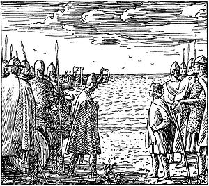 Magnus the Good - Imaginative picture of the meeting between Magnus and Harthacnut (illustration by Halfdan Egedius).