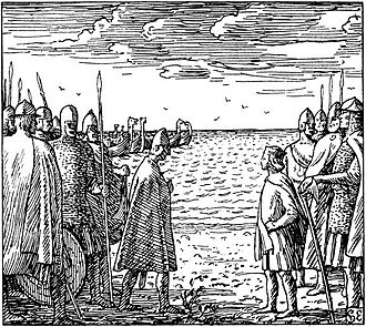 Harthacnut - Harthacnut meeting King Magnus at the Göta älv. Illustration by Halfdan Egedius.