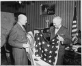 Major General Floyd L. Parks presented the Flag of Liberation to President Harry S. Truman in Berlin, Germany.... - NARA - 198680.tif