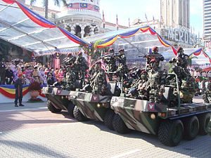 Malaysian Army - 10 Paratrooper Brigade commando forces with ATMP (All Terrain Mobility Platform) during a parade.