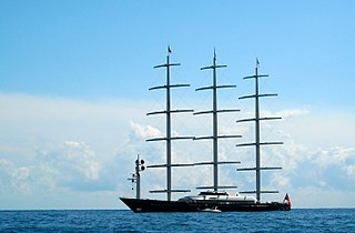 luxury yacht and full rigged ship