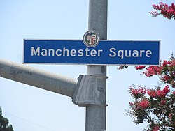 Manchester Square city sign located at Vermont Avenue and 83rd Street