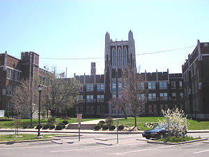 DuPont Manual High School - The north side of duPont Manual's main building