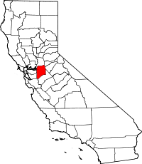 Map of California highlighting San Joaquin County
