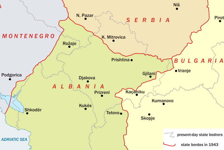 Map of Kosovo during WW II